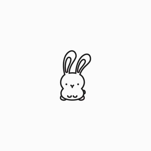thin line bunny icon with floppy ear
