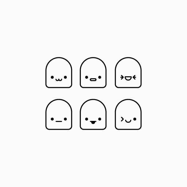 Blob emoji icons in black and white