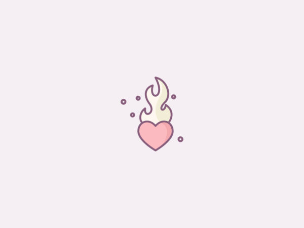 Flaming heart icon in pastel colors
