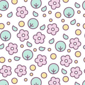 floral seamless pattern with cute pastel flowers